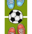 Football field with ball in the center between the vector image