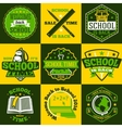 School labels set With schoolbus book vector image
