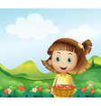 A girl holding a basket of strawberries vector image