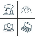 business icons set collection of cooperation vector image