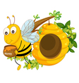 A bee holding a pot of honey near the beehive vector image vector image