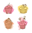 cupcake Set of 4 hand drawn vector image