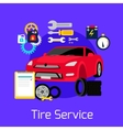 Tire Service Automobile Flat Concept vector image