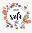 Autumn vintage cotton flower sale card vector image