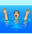 drowning man pop art style vector image