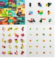 Mega collection of paper graphic banners labels vector image