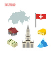 Set of icons for Switzerland Map and flag of vector image