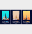 set of travel posters america europe and asia vector image