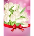 White tulips with bow EPS 10 vector image