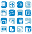 color cinema icon set vector image vector image