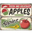 apples retro signs vector image vector image