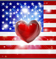 love america flag heart background vector image vector image