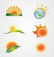 set of the sun symbol icon vector image