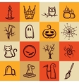 Set of retro graphical Halloween icons vector image