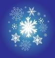 snowflakes on a blue background new year vector image