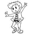 simple black and white boy dancing vector image vector image