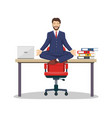 business man manager sitting on office desk vector image