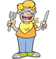 Cartoon of a hungry boy holding a kni vector image