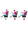 Correct and bad sitting postures for driver vector image