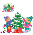 little boy and girl decorating a christmas vector image