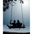 silhouette of couple of friends on a swing vector image
