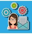 woman gears icon vector image
