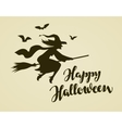 Happy Halloween greeting card Witch flying on vector image