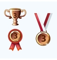 Set bronze medals and awards trophy vector image