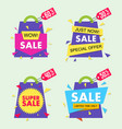 sale banner set in material design style vector image