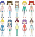Cute GirlLovely GirlsFashion Style Girl set vector image vector image