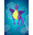 Purple cartoon dragon vector image