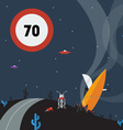 Alien speed limit sign and crash of a flying sauce vector image