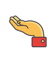 Hand supporting gesture concept line icon vector image