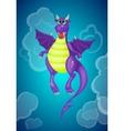 Purple cartoon dragon vector image