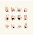 set of gesture human palm with emotion signs vector image