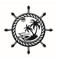 Wheel with summer island inside vector image