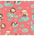 Seamless pattern with cute angels celebrating vector image