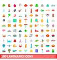 100 landmarks icons set cartoon style vector image
