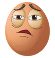 An egg with a tired face vector image vector image