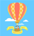 Couple in love on a hot air balloon vector image