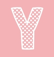 Y alphabet letter with white polka dots on pink vector image