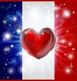 love france flag heart background vector image
