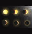 Sun eclipse  Different phases vector image