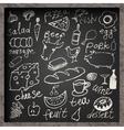 Set of hand-drawn food on chalkboard vector image
