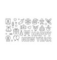 happy new year horizontal banner in thin vector image