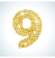 Nine number in golden style vector image