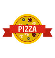 pizza badge with red ribbon icon isolated vector image