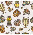 Seamless pattern with cup vector image