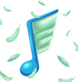 Note Music Feather Wing Icon Symbol vector image
