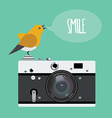 Old photo camera with realistic lens and cartoon vector image